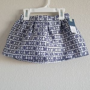 Genuine Kids OshKosh Navy White Embroidered Skirt